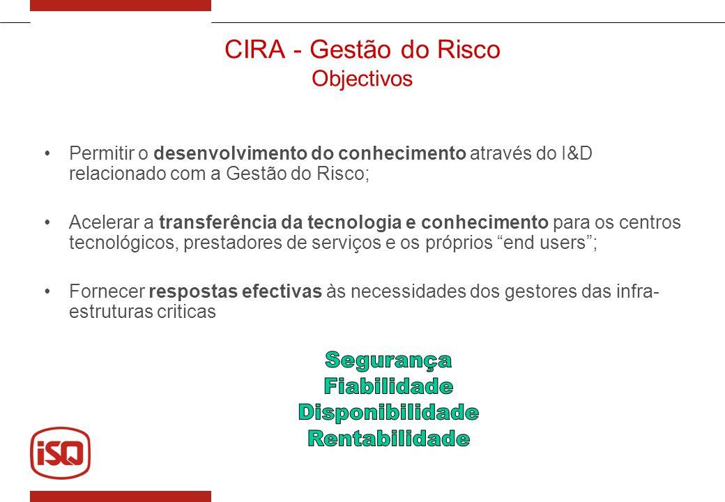 CIRA - Gestão do Risco Objectivos Permitir o desenvolvimento do conhecimento através do I&D relacionado com a Gestão do Risco; Acelerar a transferênci