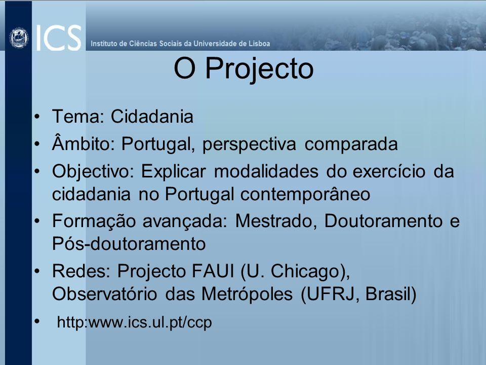 O Projecto Tema: Cidadania Âmbito: Portugal, perspectiva comparada Objectivo: Explicar modalidades do exercício da cidadania no Portugal contemporâneo