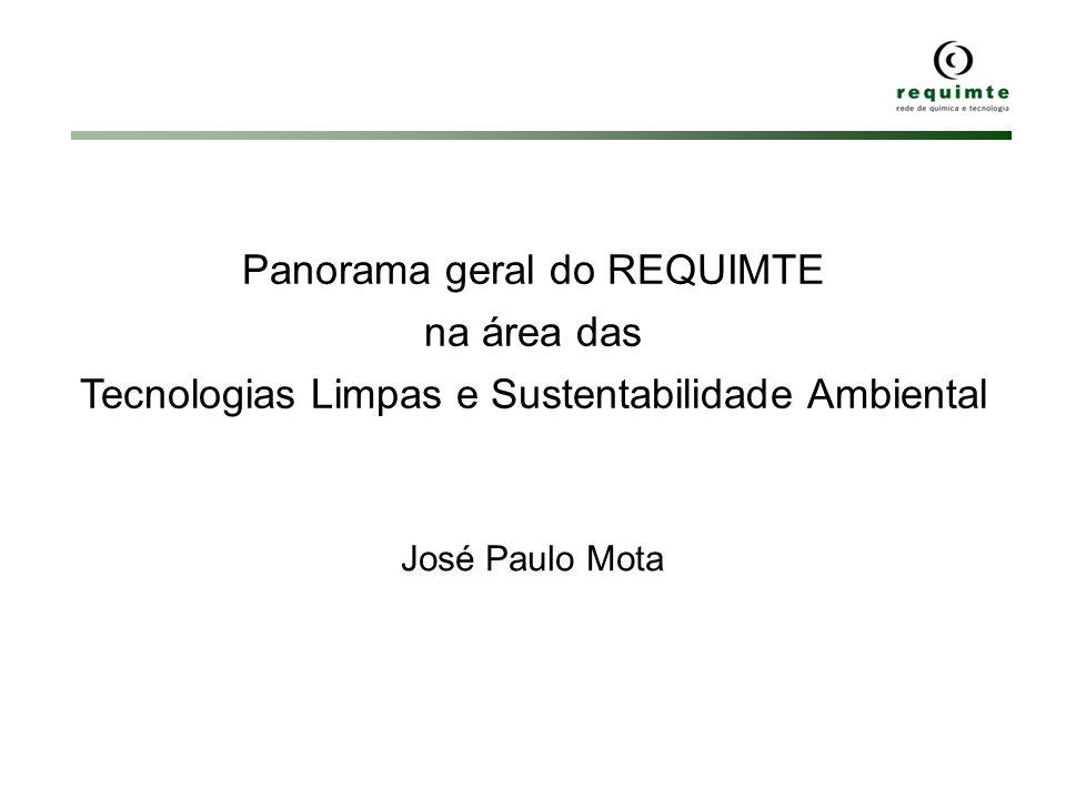 Panorama geral do REQUIMTE na área das Tecnologias Limpas e Sustentabilidade Ambiental José Paulo Mota