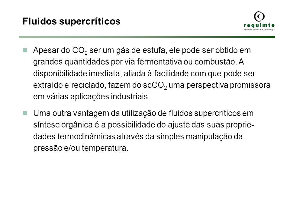 Fluidos supercríticos Apesar do CO 2 ser um gás de estufa, ele pode ser obtido em grandes quantidades por via fermentativa ou combustão. A disponibili