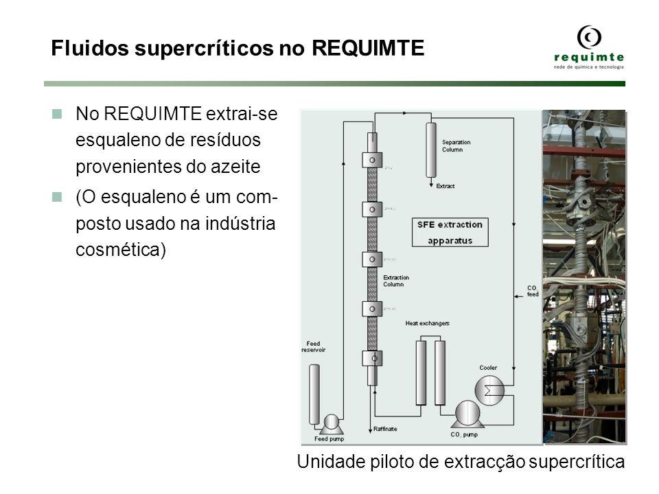 Fluidos supercríticos no REQUIMTE No REQUIMTE extrai-se esqualeno de resíduos provenientes do azeite (O esqualeno é um com- posto usado na indústria c