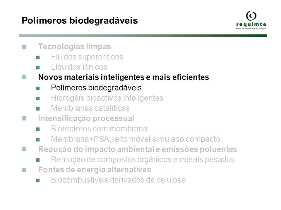Polímeros biodegradáveis Tecnologias limpas Fluidos supercríticos Líquidos iónicos Novos materiais inteligentes e mais eficientes Polímeros biodegradá