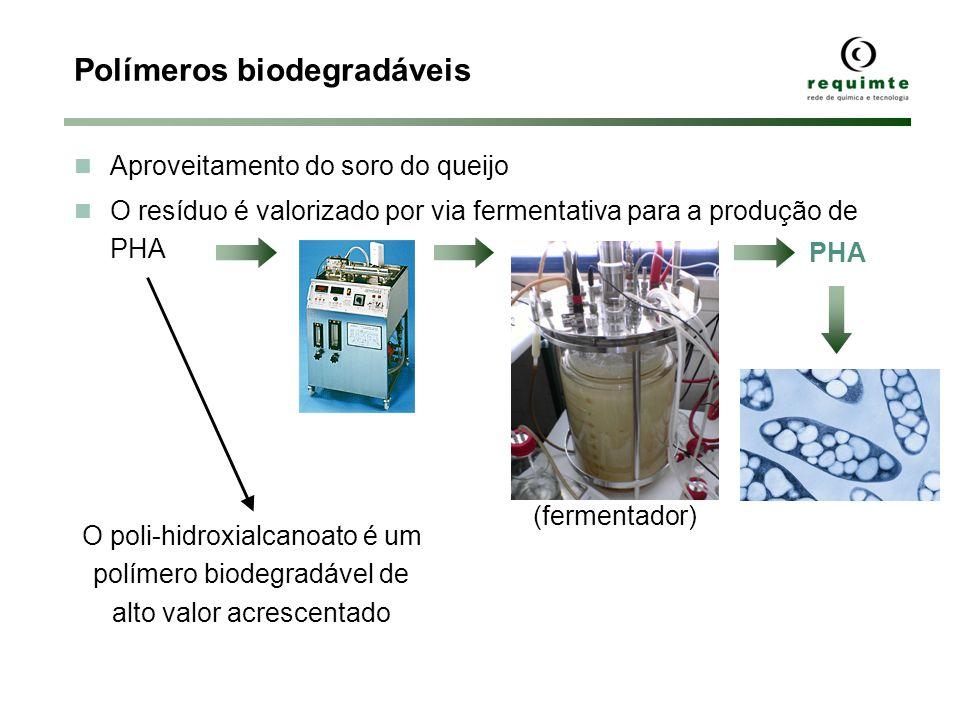 Polímeros biodegradáveis Aproveitamento do soro do queijo O resíduo é valorizado por via fermentativa para a produção de PHA PHA O poli-hidroxialcanoa