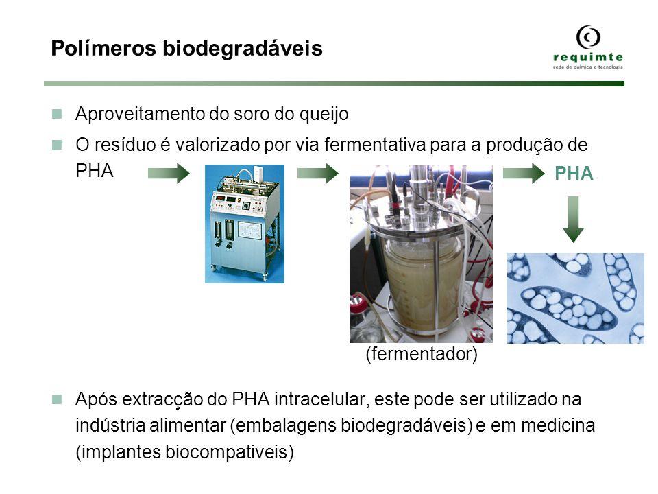 Polímeros biodegradáveis Aproveitamento do soro do queijo O resíduo é valorizado por via fermentativa para a produção de PHA Após extracção do PHA int