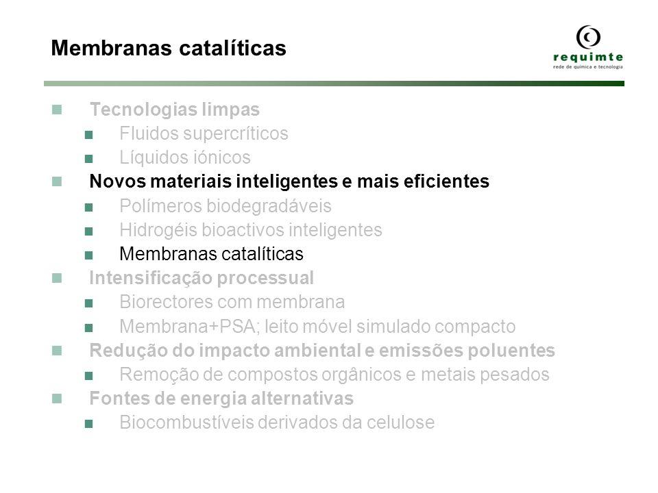 Membranas catalíticas Tecnologias limpas Fluidos supercríticos Líquidos iónicos Novos materiais inteligentes e mais eficientes Polímeros biodegradávei