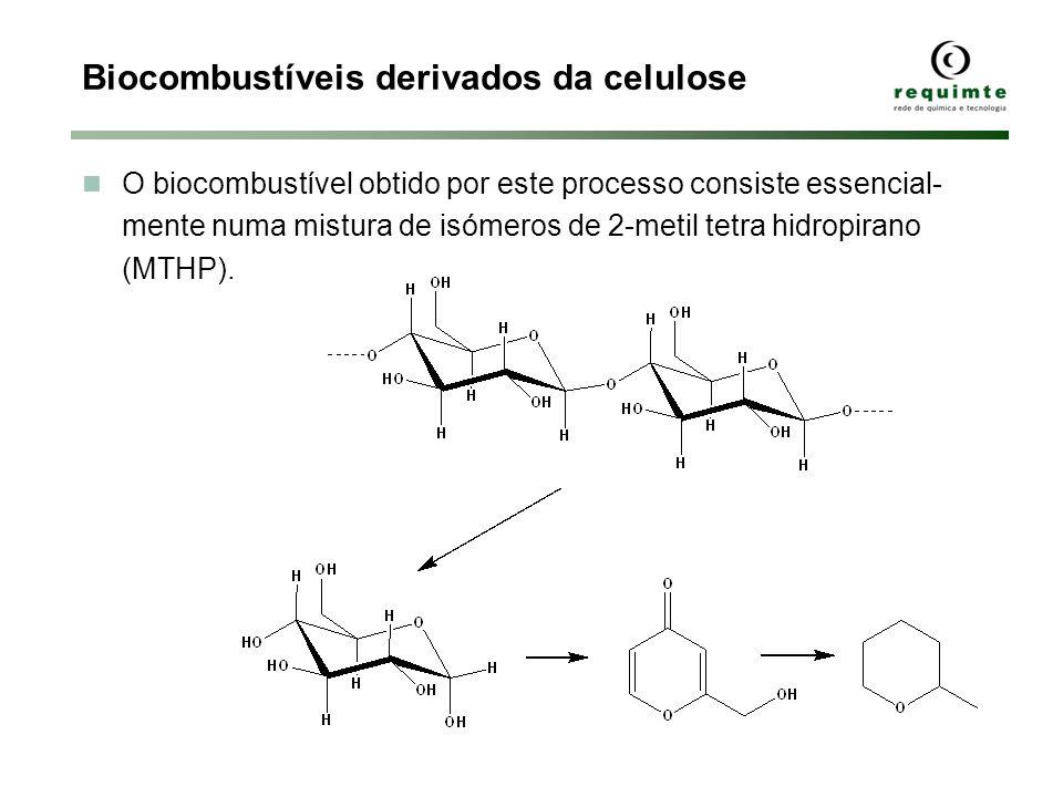 Biocombustíveis derivados da celulose O biocombustível obtido por este processo consiste essencial- mente numa mistura de isómeros de 2-metil tetra hi