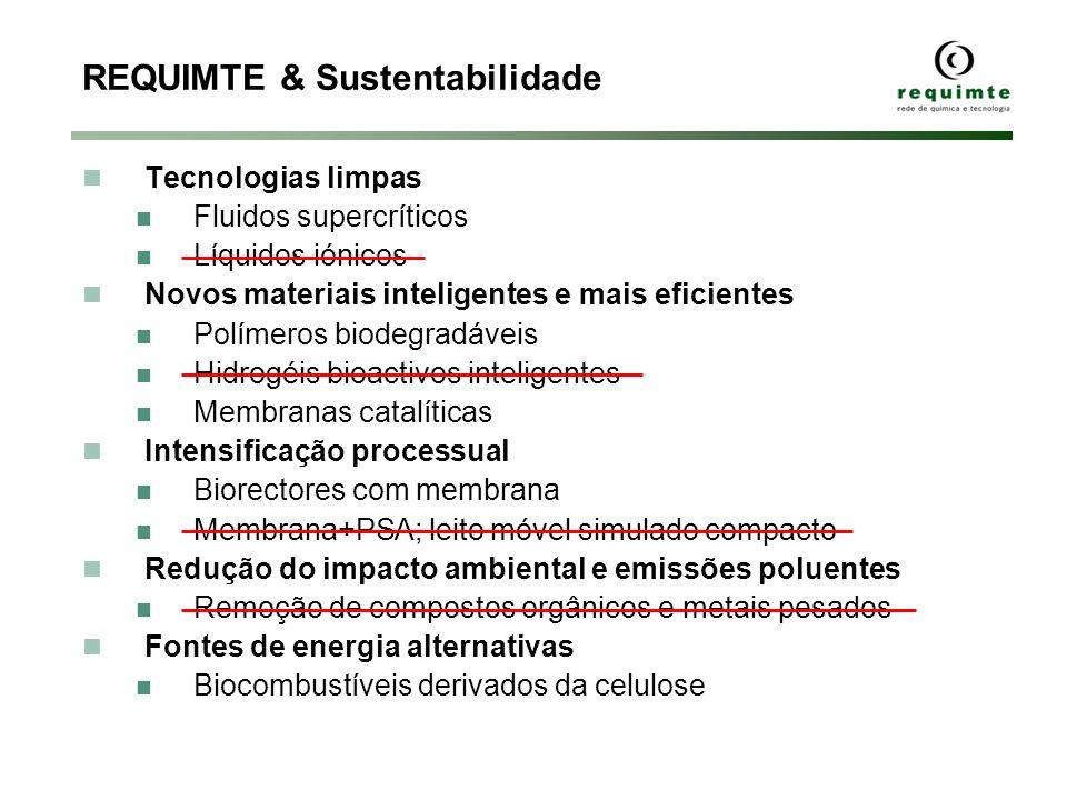 REQUIMTE & Sustentabilidade Tecnologias limpas Fluidos supercríticos Líquidos iónicos Novos materiais inteligentes e mais eficientes Polímeros biodegr