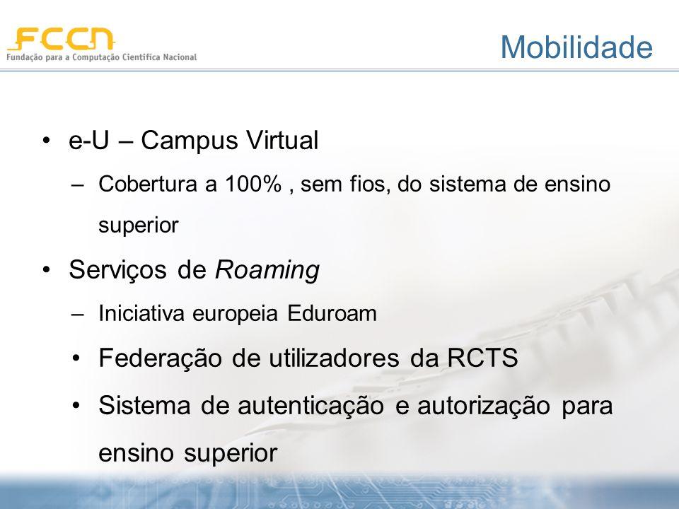Mobilidade e-U – Campus Virtual –Cobertura a 100%, sem fios, do sistema de ensino superior Serviços de Roaming –Iniciativa europeia Eduroam Federação de utilizadores da RCTS Sistema de autenticação e autorização para ensino superior