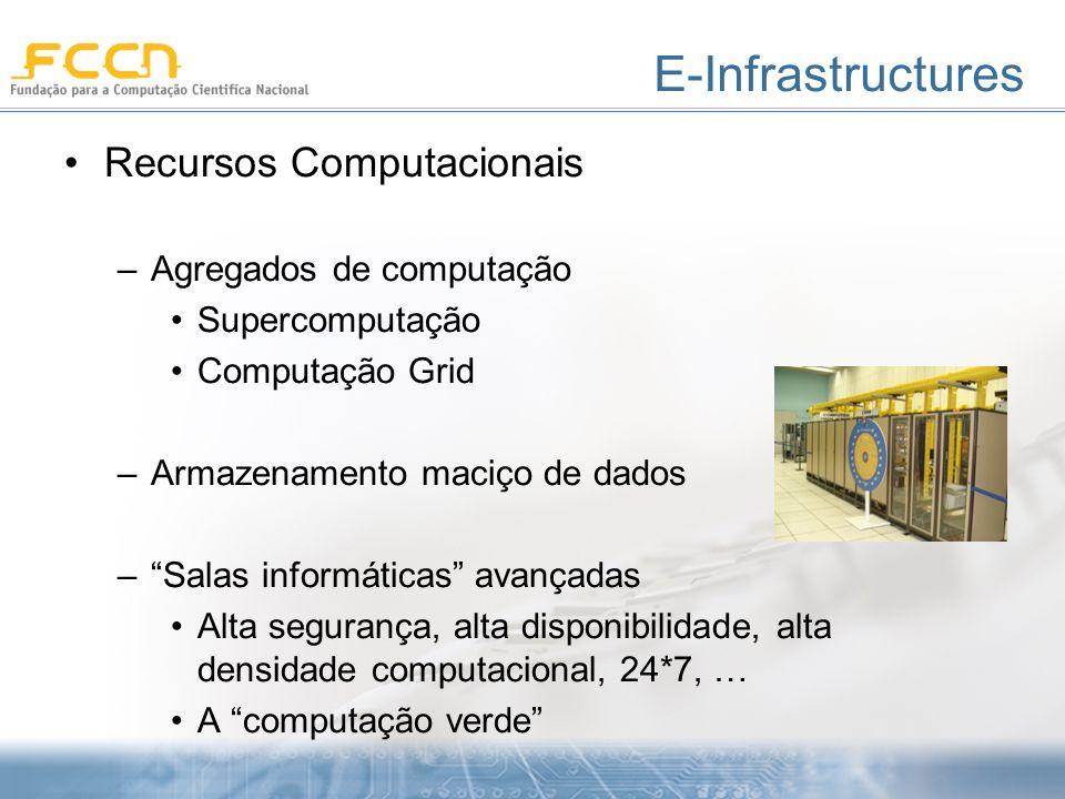 E-Infrastructures Recursos Computacionais –Agregados de computação Supercomputação Computação Grid –Armazenamento maciço de dados –Salas informáticas avançadas Alta segurança, alta disponibilidade, alta densidade computacional, 24*7, … A computação verde