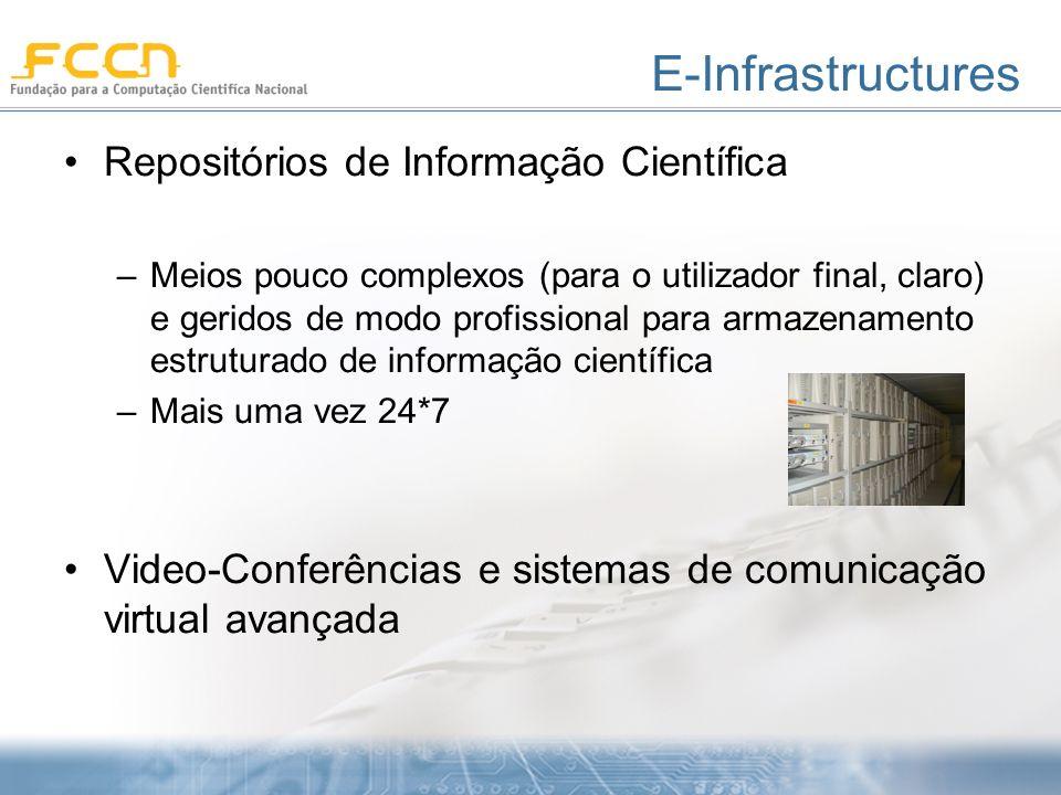 E-Infrastructures Repositórios de Informação Científica –Meios pouco complexos (para o utilizador final, claro) e geridos de modo profissional para armazenamento estruturado de informação científica –Mais uma vez 24*7 Video-Conferências e sistemas de comunicação virtual avançada