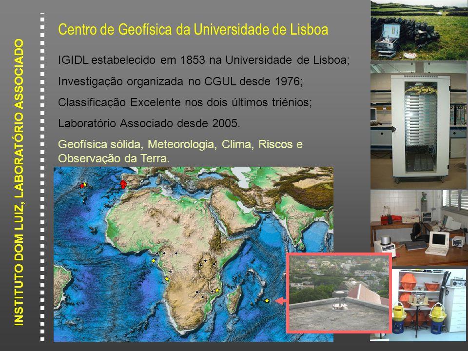 INSTITUTO DOM LUIZ, LABORATÓRIO ASSOCIADO Centro de Geofísica da Universidade de Lisboa IGIDL estabelecido em 1853 na Universidade de Lisboa; Investig