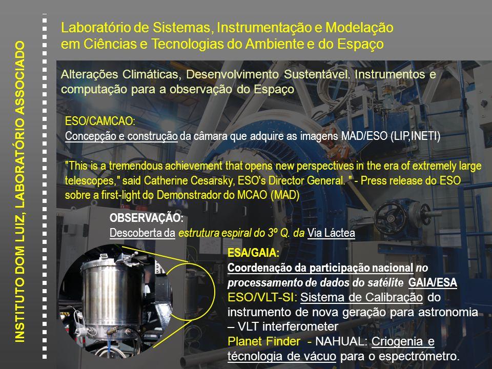 INSTITUTO DOM LUIZ, LABORATÓRIO ASSOCIADO Alterações Climáticas, Desenvolvimento Sustentável. Instrumentos e computação para a observação do Espaço La