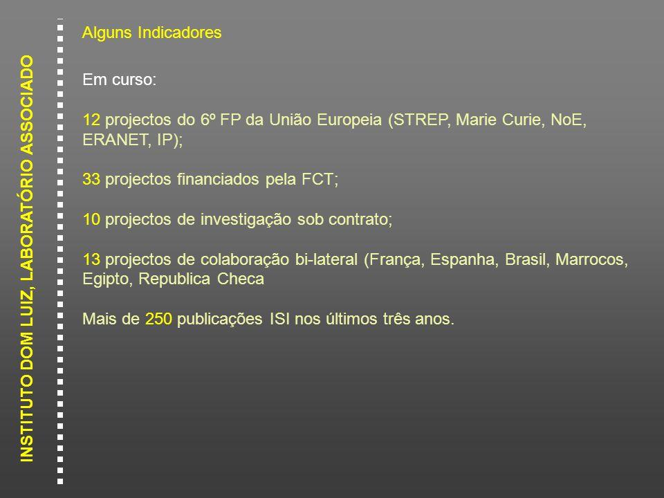 INSTITUTO DOM LUIZ, LABORATÓRIO ASSOCIADO Alguns Indicadores Em curso: 12 projectos do 6º FP da União Europeia (STREP, Marie Curie, NoE, ERANET, IP);