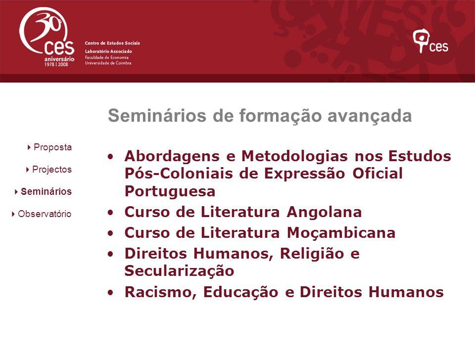 Seminários de formação avançada Abordagens e Metodologias nos Estudos Pós-Coloniais de Expressão Oficial Portuguesa Curso de Literatura Angolana Curso