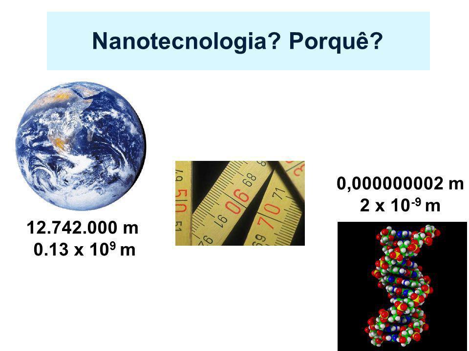 Nanotecnologia? Porquê? 12.742.000 m 0.13 x 10 9 m 0,000000002 m 2 x 10 -9 m