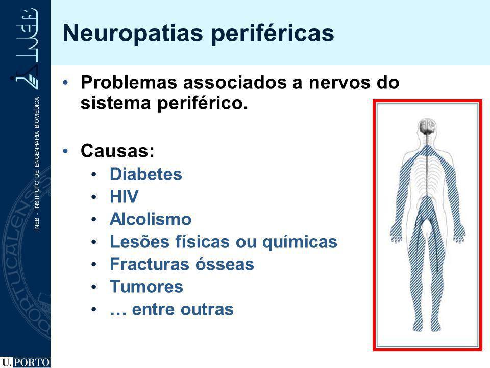 Neuropatias periféricas Problemas associados a nervos do sistema periférico. Causas: Diabetes HIV Alcolismo Lesões físicas ou químicas Fracturas óssea