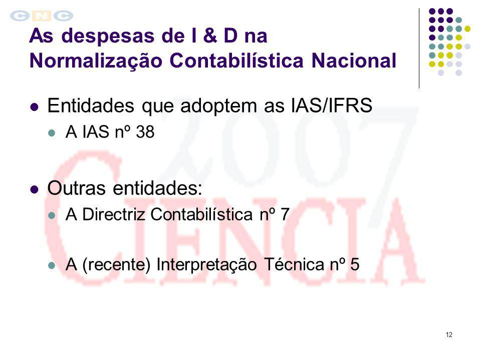 12 As despesas de I & D na Normalização Contabilística Nacional Entidades que adoptem as IAS/IFRS A IAS nº 38 Outras entidades: A Directriz Contabilís