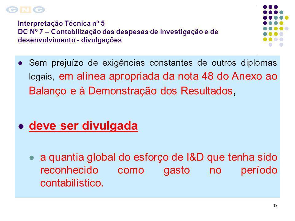19 Sem prejuízo de exigências constantes de outros diplomas legais, em alínea apropriada da nota 48 do Anexo ao Balanço e à Demonstração dos Resultado