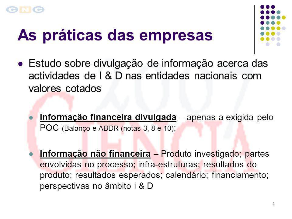 4 As práticas das empresas Estudo sobre divulgação de informação acerca das actividades de I & D nas entidades nacionais com valores cotados Informaçã