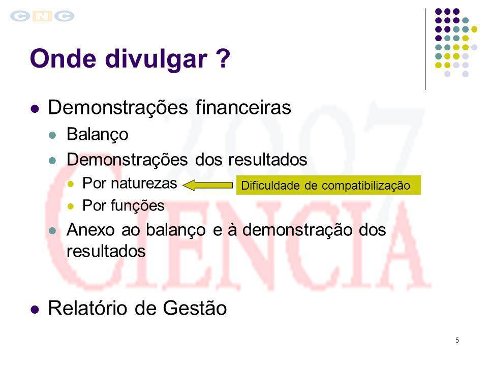 5 Onde divulgar ? Demonstrações financeiras Balanço Demonstrações dos resultados Por naturezas Por funções Anexo ao balanço e à demonstração dos resul
