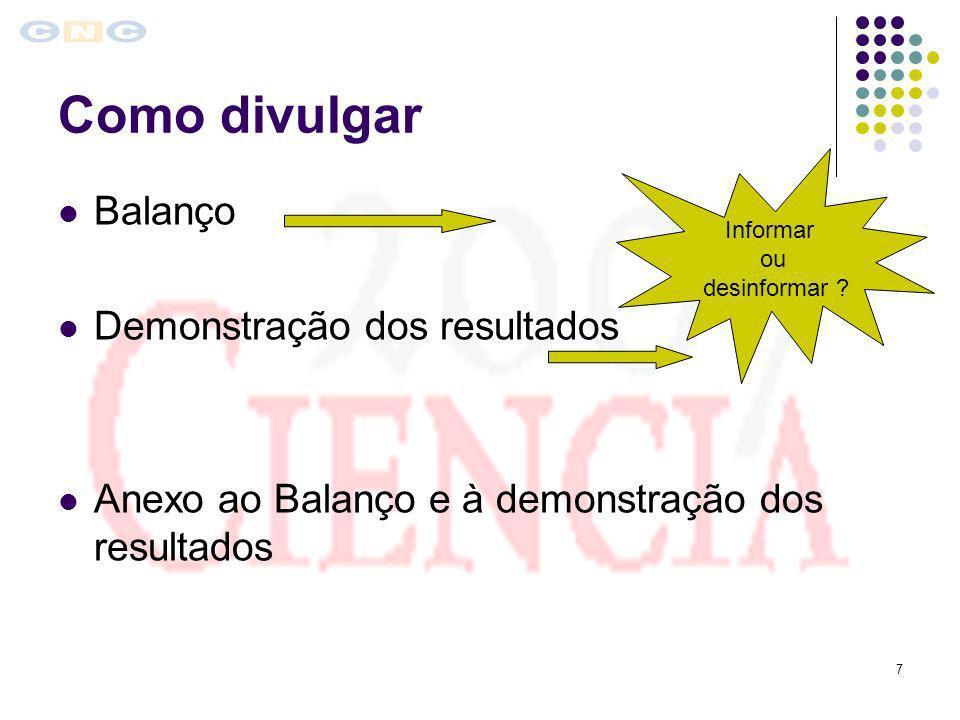 7 Como divulgar Balanço Demonstração dos resultados Anexo ao Balanço e à demonstração dos resultados Informar ou desinformar ?