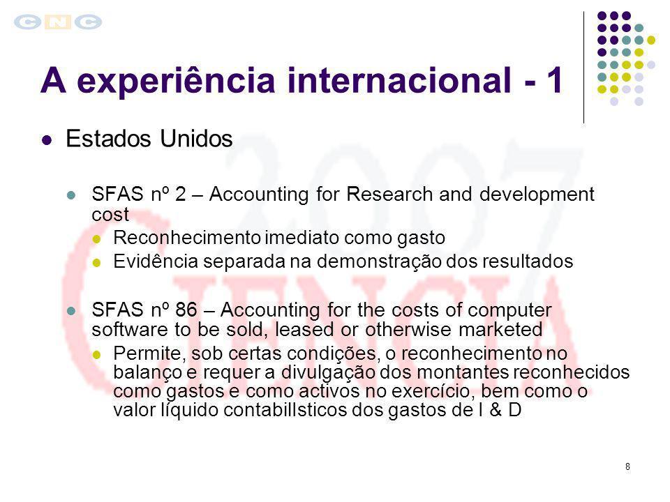 8 A experiência internacional - 1 Estados Unidos SFAS nº 2 – Accounting for Research and development cost Reconhecimento imediato como gasto Evidência