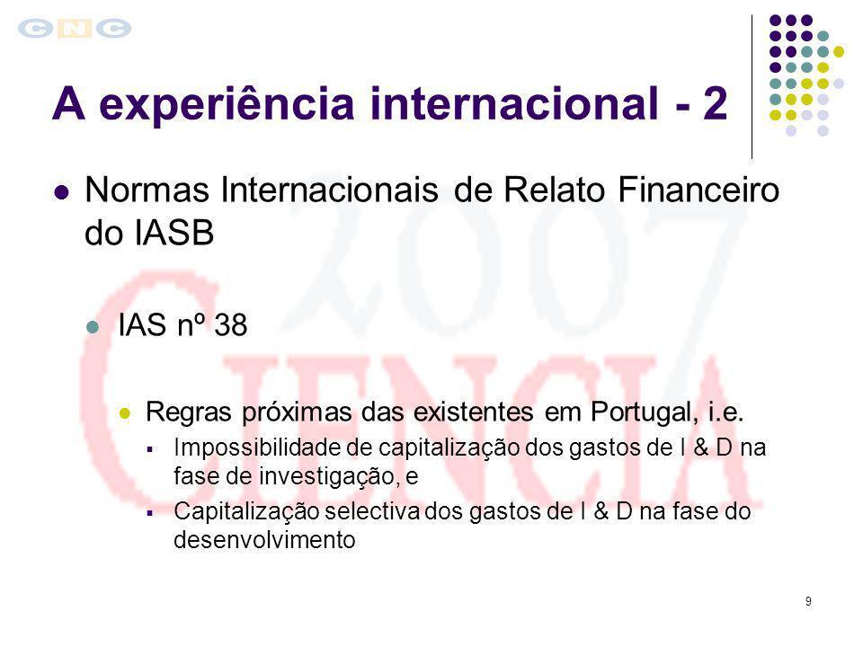 9 A experiência internacional - 2 Normas Internacionais de Relato Financeiro do IASB IAS nº 38 Regras próximas das existentes em Portugal, i.e. Imposs