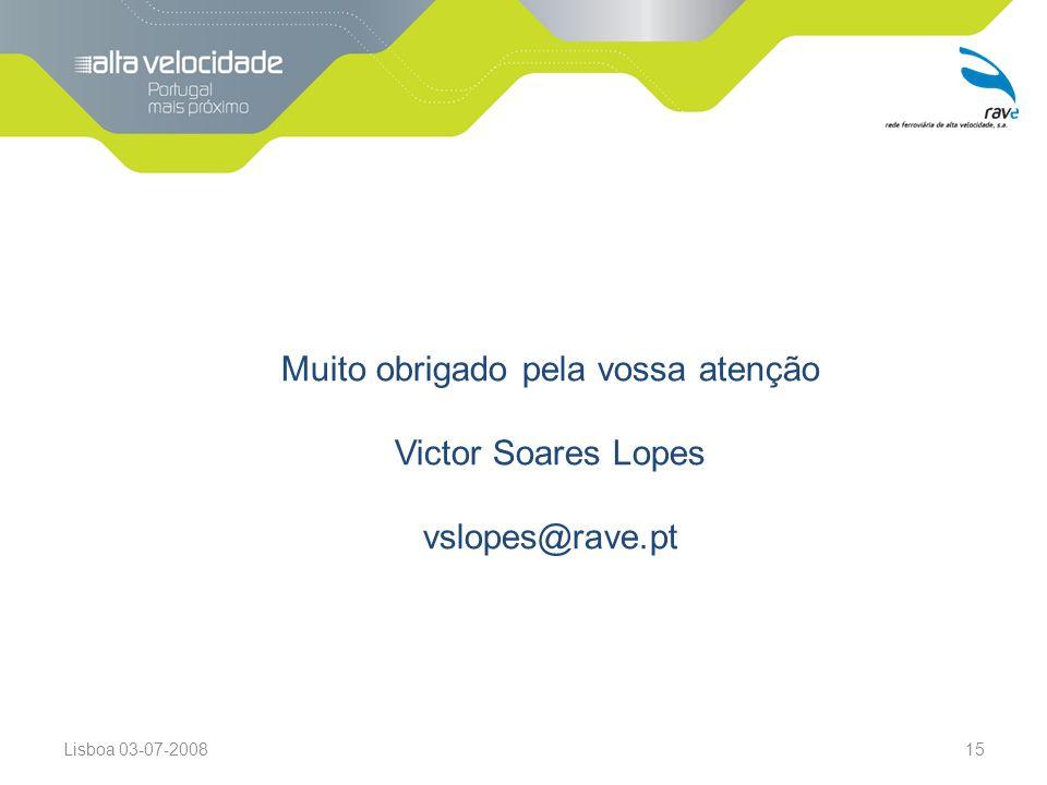 Lisboa 03-07-200815 Muito obrigado pela vossa atenção Victor Soares Lopes vslopes@rave.pt