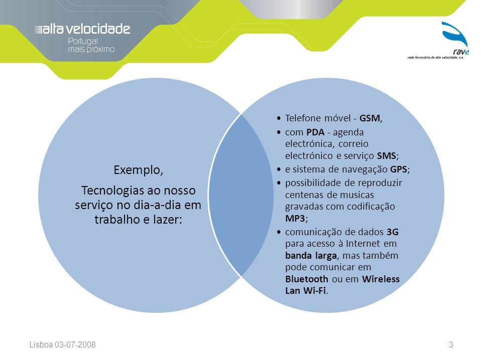 Lisboa 03-07-20083 Exemplo, Tecnologias ao nosso serviço no dia-a-dia em trabalho e lazer: Telefone móvel - GSM, com PDA - agenda electrónica, correio electrónico e serviço SMS; e sistema de navegação GPS; possibilidade de reproduzir centenas de musicas gravadas com codificação MP3; comunicação de dados 3G para acesso à Internet em banda larga, mas também pode comunicar em Bluetooth ou em Wireless Lan Wi-Fi.