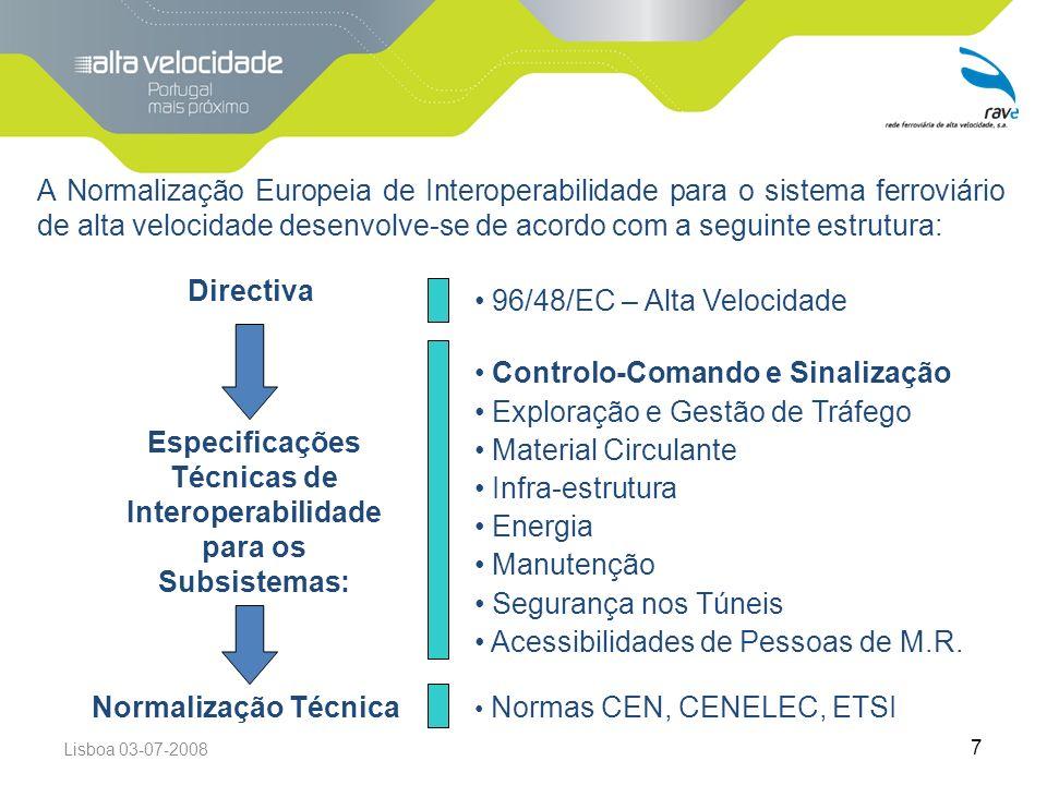 Lisboa 03-07-2008 7 A Normalização Europeia de Interoperabilidade para o sistema ferroviário de alta velocidade desenvolve-se de acordo com a seguinte estrutura: Directiva 96/48/EC – Alta Velocidade Especificações Técnicas de Interoperabilidade para os Subsistemas: Controlo-Comando e Sinalização Exploração e Gestão de Tráfego Material Circulante Infra-estrutura Energia Manutenção Segurança nos Túneis Acessibilidades de Pessoas de M.R.