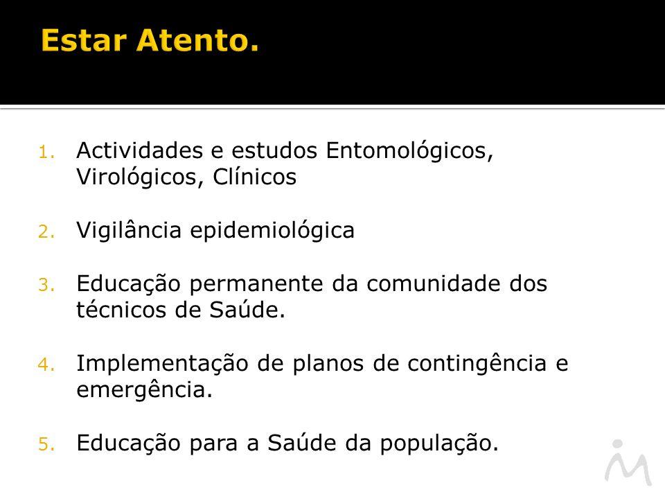 1. Actividades e estudos Entomológicos, Virológicos, Clínicos 2.