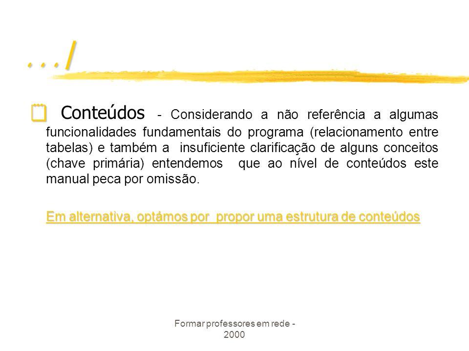 Formar professores em rede - 2000 B - Estrutura do manual B1-Aspectos importantes ausentes Os objectivos do módulo - Aspecto indispensável para os for