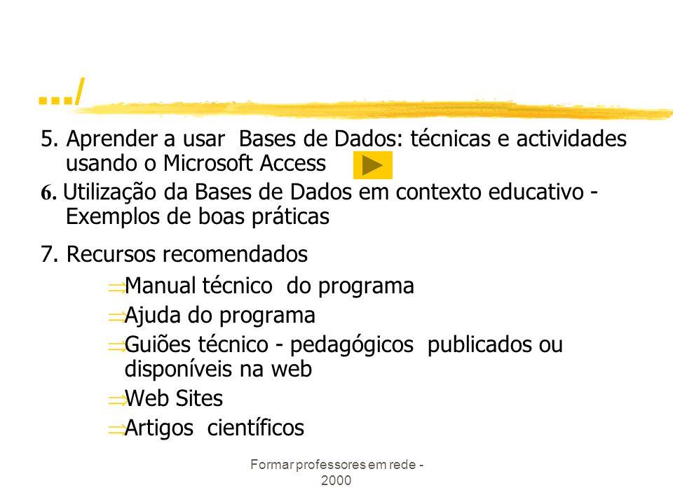 Formar professores em rede - 2000.../ 4.2. Trabalhar com o Access 4.2.1. Construir uma Base de Dados 4.2.2.Criar uma Tabela 4.2.3.Tipos de Dados 4.2.4