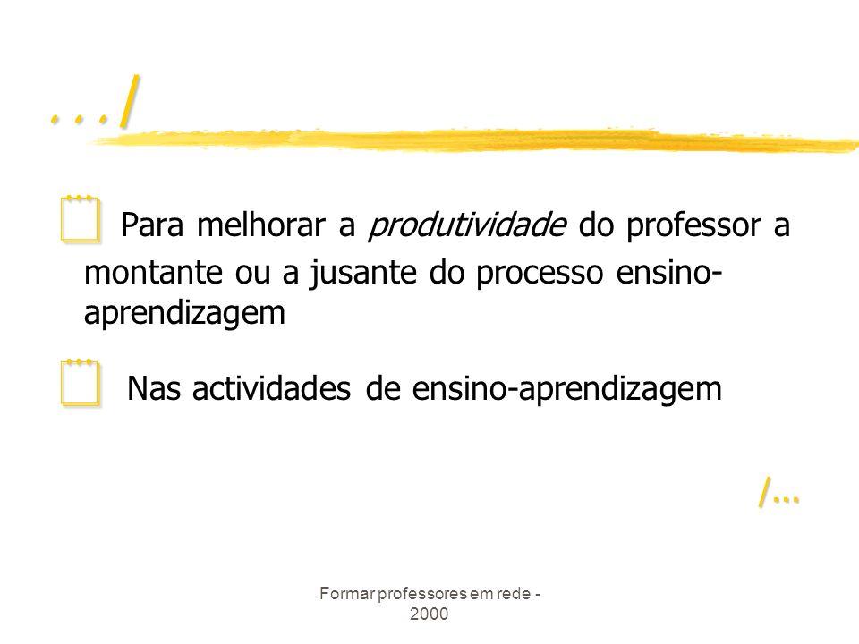 Formar professores em rede - 2000.../ Para melhorar a produtividade do professor a montante ou a jusante do processo ensino- aprendizagem Nas actividades de ensino-aprendizagem/...