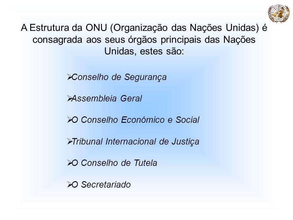 A Estrutura da ONU (Organização das Nações Unidas) é consagrada aos seus órgãos principais das Nações Unidas, estes são: Conselho de Segurança Assembl