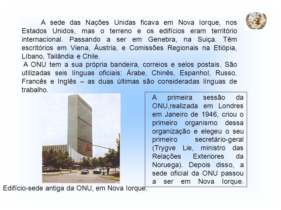 A sede das Nações Unidas ficava em Nova Iorque, nos Estados Unidos, mas o terreno e os edifícios eram território internacional. Passando a ser em Gene