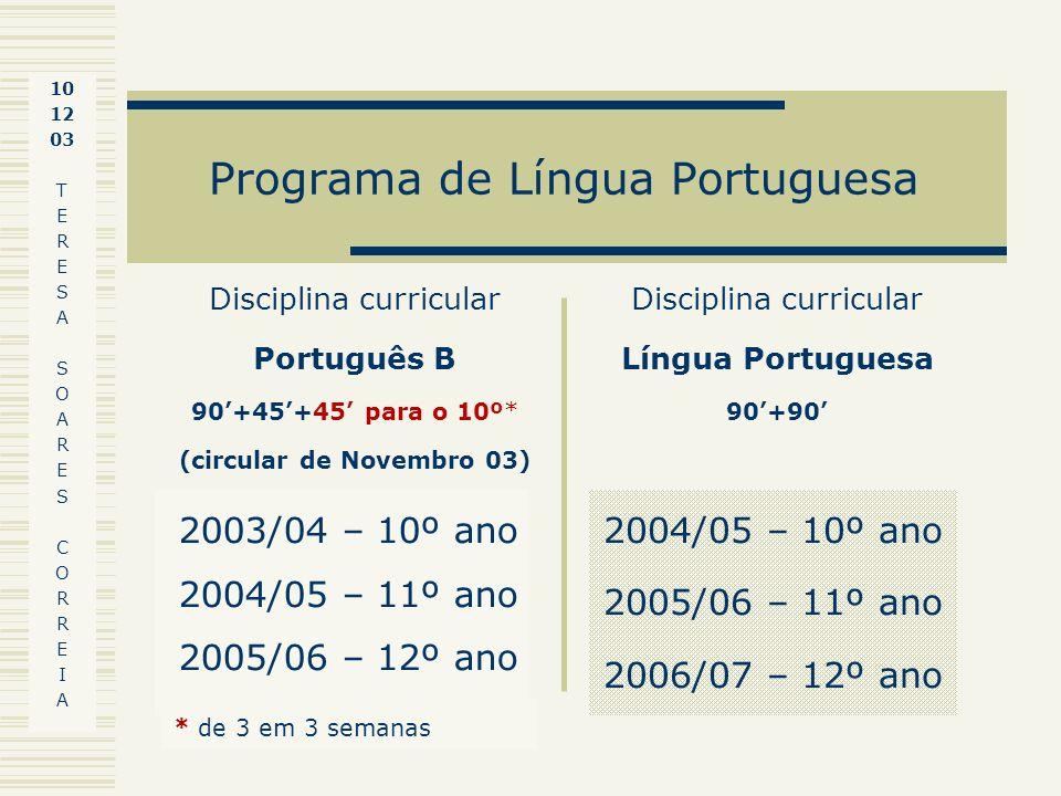 Programa de Língua Portuguesa 2003/04 – 10º ano 2004/05 – 11º ano 2005/06 – 12º ano 2004/05 – 10º ano 2005/06 – 11º ano 2006/07 – 12º ano Disciplina c