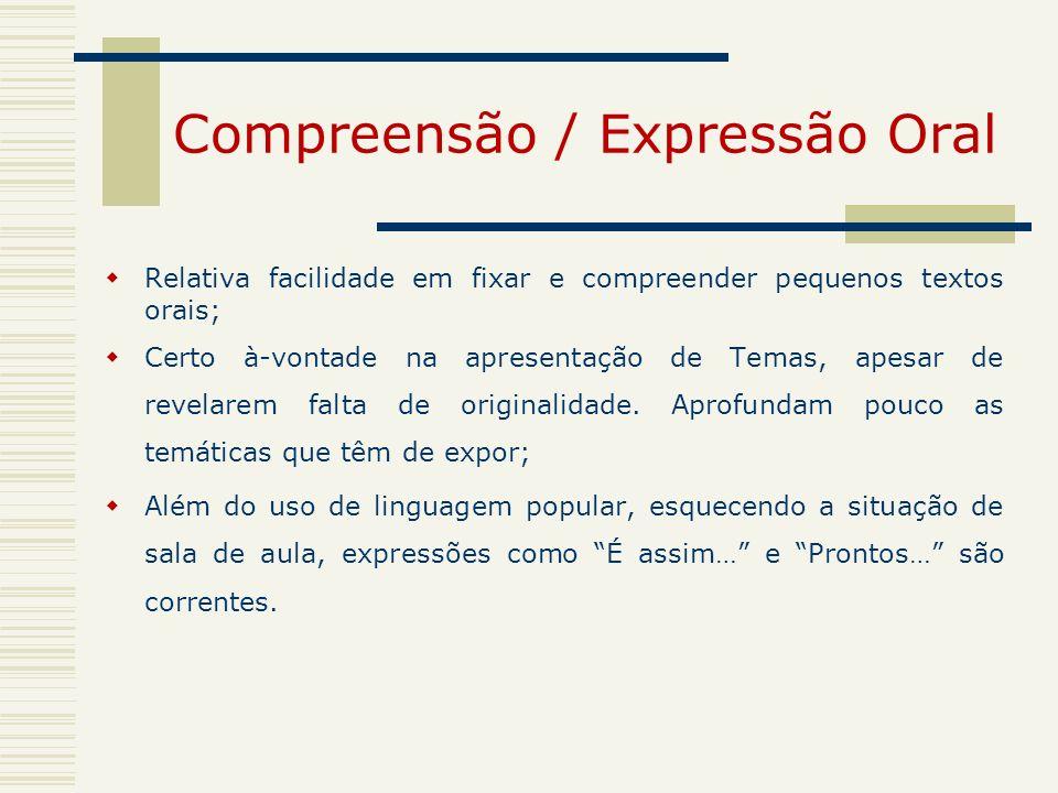 Compreensão / Expressão Oral Relativa facilidade em fixar e compreender pequenos textos orais; Certo à-vontade na apresentação de Temas, apesar de rev