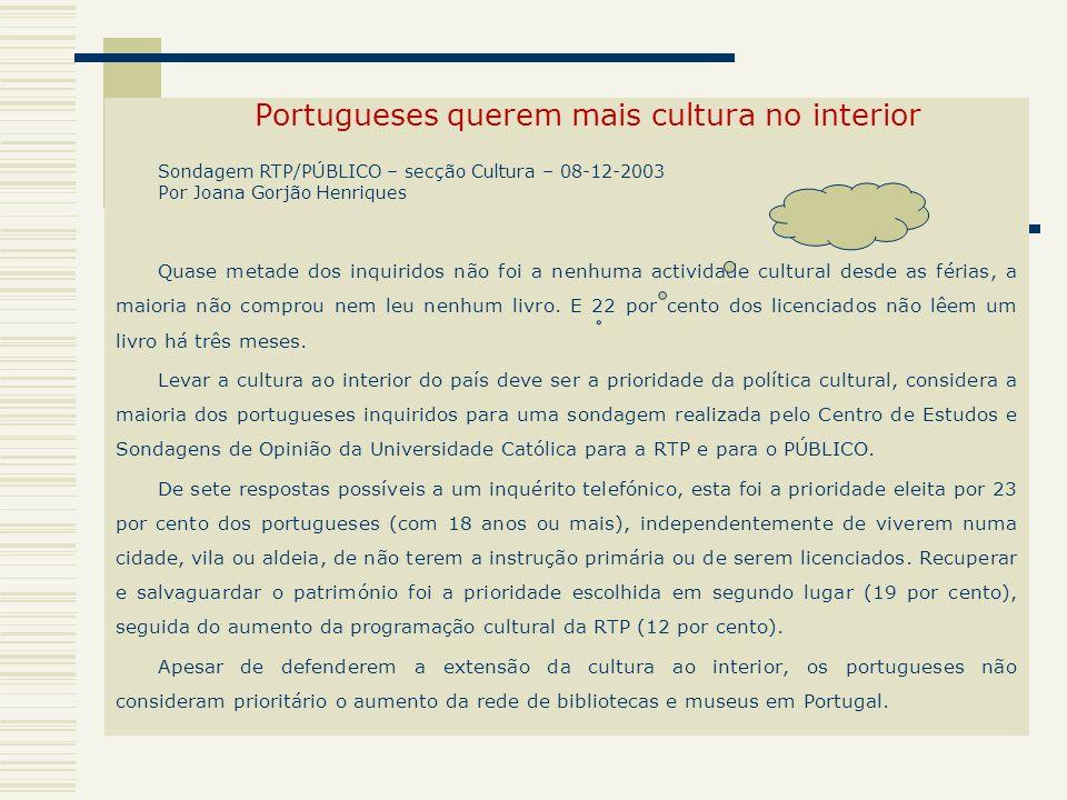 Portugueses querem mais cultura no interior Sondagem RTP/PÚBLICO – secção Cultura – 08-12-2003 Por Joana Gorjão Henriques Quase metade dos inquiridos
