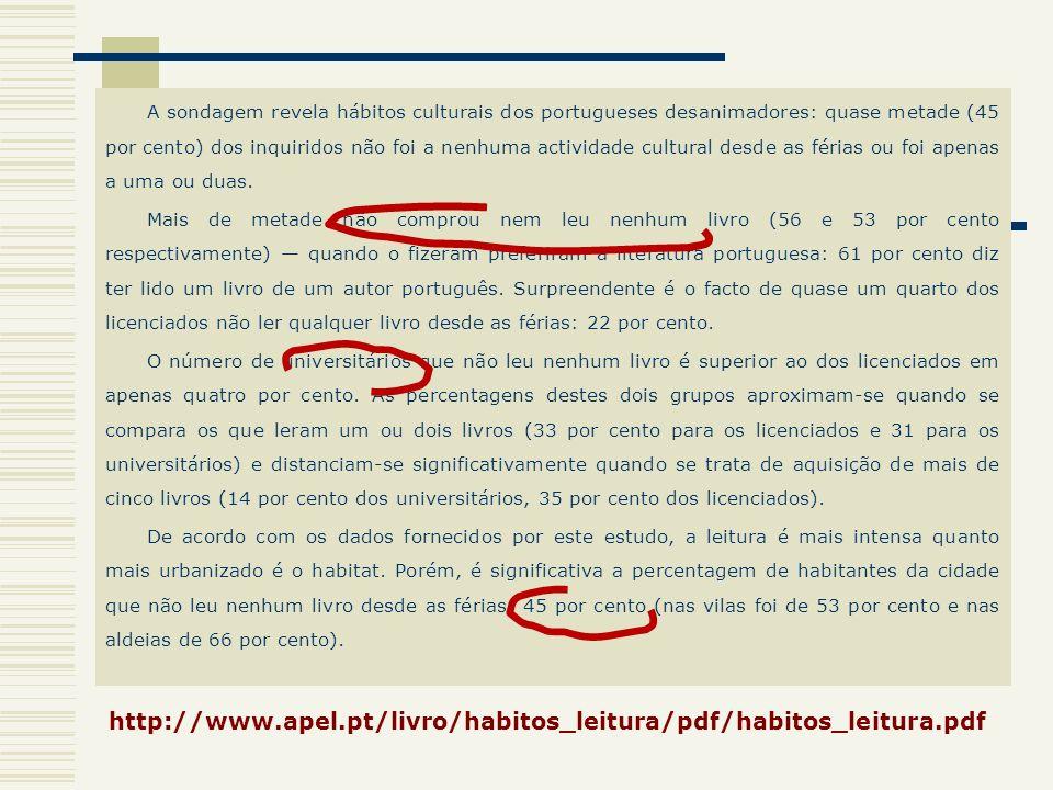 A sondagem revela hábitos culturais dos portugueses desanimadores: quase metade (45 por cento) dos inquiridos não foi a nenhuma actividade cultural de