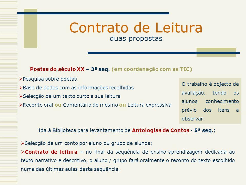 Contrato de Leitura duas propostas Ida à Biblioteca para levantamento de Antologias de Contos - 5ª seq.; Pesquisa sobre poetas Base de dados com as in