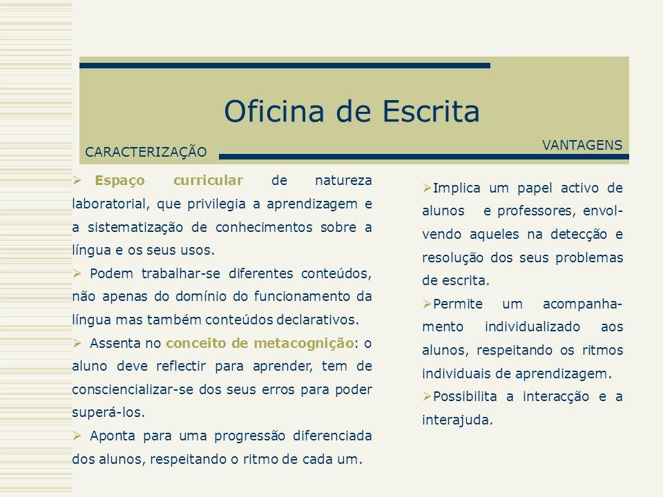 Oficina de Escrita CARACTERIZAÇÃO Espaço curricular de natureza laboratorial, que privilegia a aprendizagem e a sistematização de conhecimentos sobre