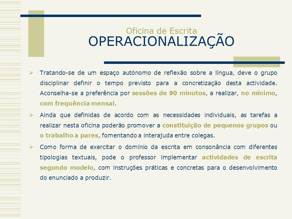 Oficina de Escrita OPERACIONALIZAÇÃO Tratando-se de um espaço autónomo de reflexão sobre a língua, deve o grupo disciplinar definir o tempo previsto p