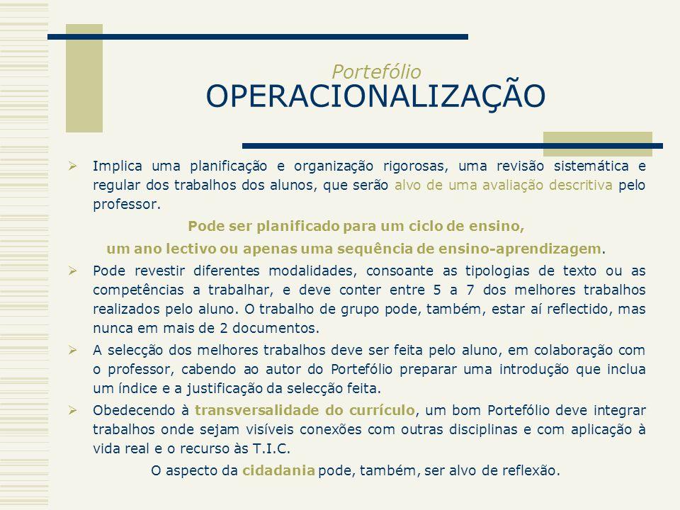 Portefólio OPERACIONALIZAÇÃO Implica uma planificação e organização rigorosas, uma revisão sistemática e regular dos trabalhos dos alunos, que serão a