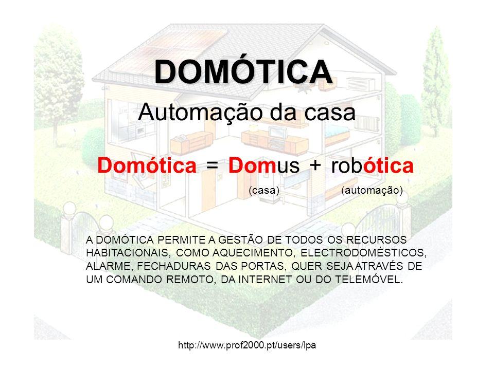 http://www.prof2000.pt/users/lpa DOMÓTICA DOMÓTICA Automação da casa Domótica=Domus+robótica (casa)(automação) A DOMÓTICA PERMITE A GESTÃO DE TODOS OS