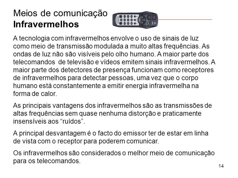 14 Meios de comunicação Infravermelhos A tecnologia com infravermelhos envolve o uso de sinais de luz como meio de transmissão modulada a muito altas