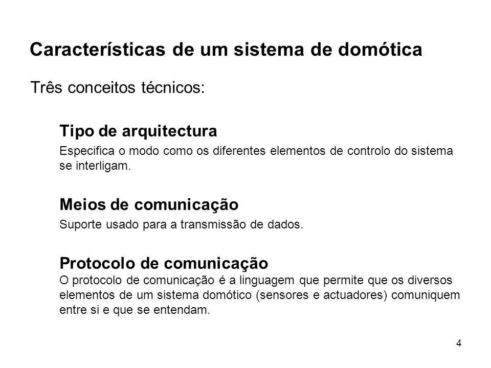 4 Características de um sistema de domótica Três conceitos técnicos: Tipo de arquitectura Especifica o modo como os diferentes elementos de controlo d