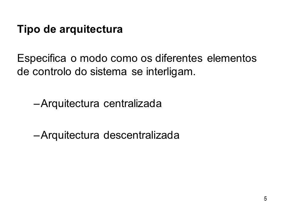 5 Tipo de arquitectura Especifica o modo como os diferentes elementos de controlo do sistema se interligam. –Arquitectura centralizada –Arquitectura d