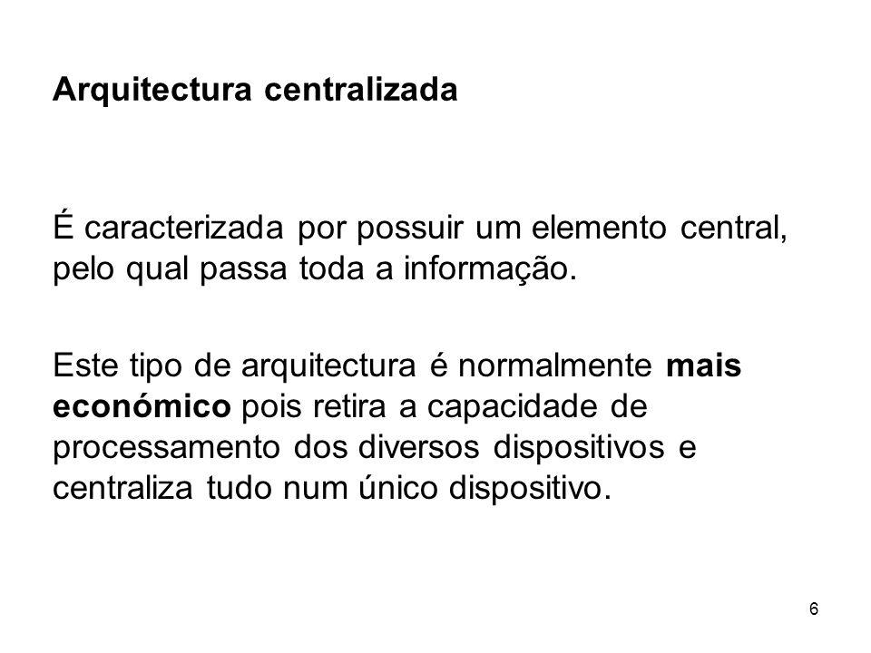 6 Arquitectura centralizada É caracterizada por possuir um elemento central, pelo qual passa toda a informação. Este tipo de arquitectura é normalment