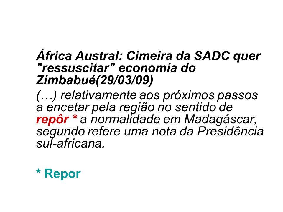 África Austral: Cimeira da SADC quer